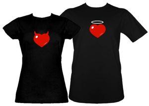 Koszulki dla pary-Zestaw koszulka damska + t-shirt Serce różki + aureolka