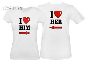 Zestaw koszulka damska i t-shirt I Love