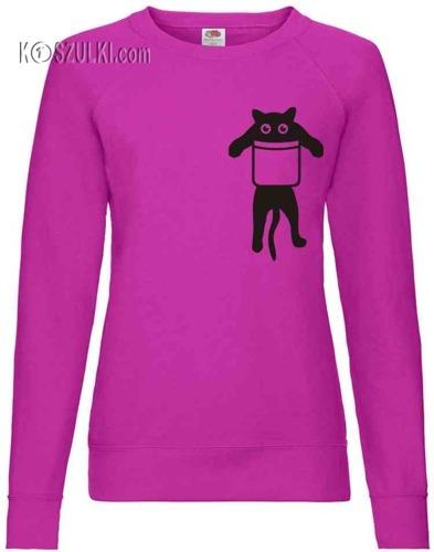 Bluza damska Fit Kotek w kieszeni
