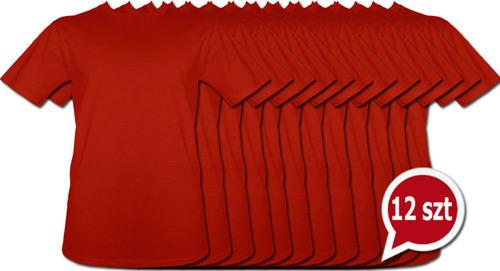 Koszulki Czerwone bez nadruku pakiet promocyjny 12szt