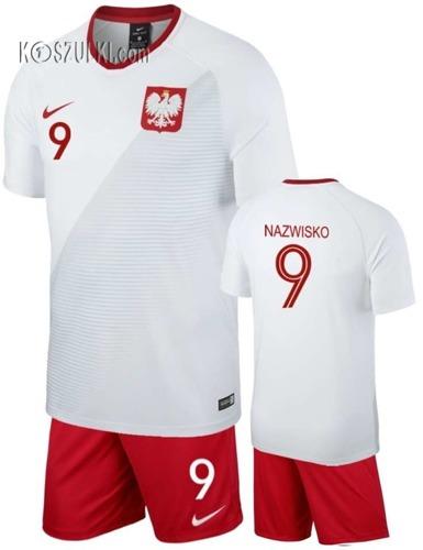 Strój kibica Reprezentacji Polski Nike Poland MŚ2018 Koszulka i spodenki własny numer i nazwisko