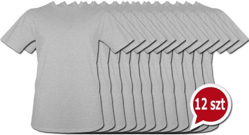 T-shirt Szary bez nadruku Pakiet promocyjny 12 sztuk