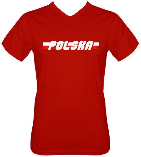 T-shirt v-Neck TV055 Polska napis Flaga Czerwony