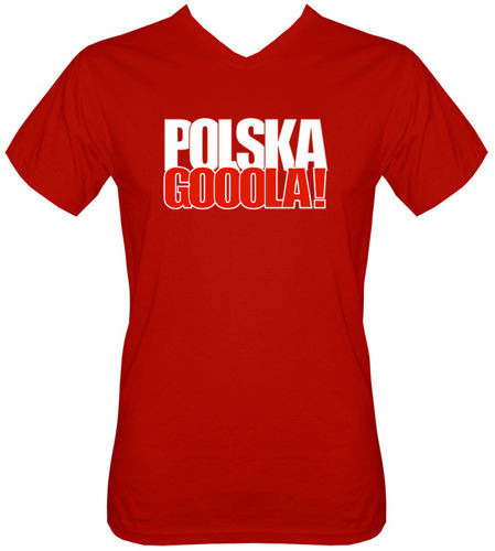 T-shirt v-Neck TV072 Polska Gooola! Czerwony