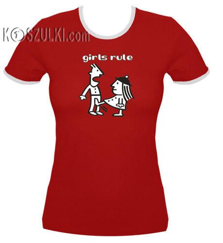 koszulka damska Girls Rule- CZERWONA