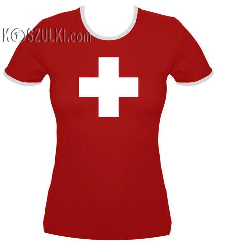 koszulka damska Krzyżyk SWISS- CZERWONA