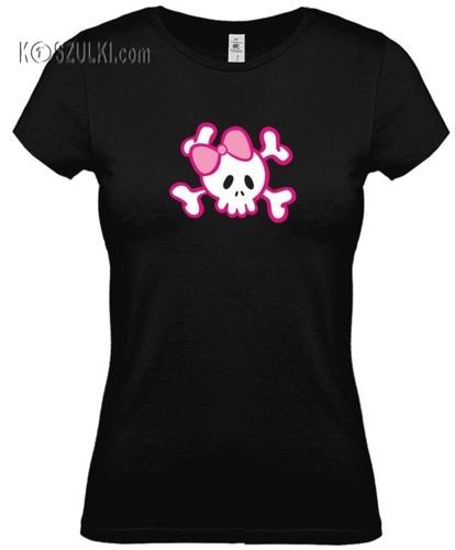koszulka damska Pink Skull- CZARNA