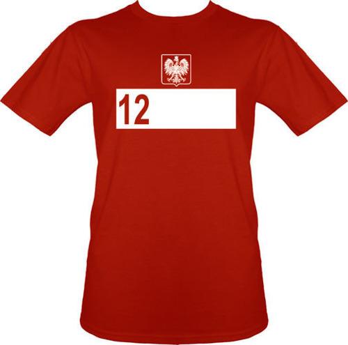 t-shirt T031 Polska 12 zawodnik Czerwona + NAZWISKO