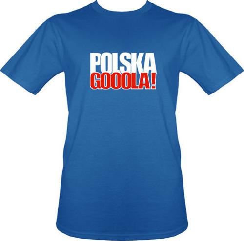 t-shirt T075 Polska GOOOLA! Niebieska