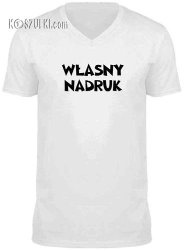 t-shirt V-neck dowolny tekst