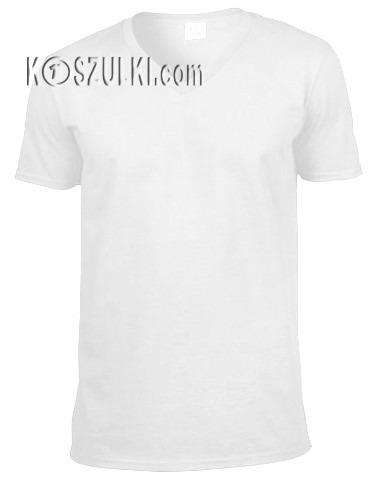 t-shirt bez nadruku w serek Biały